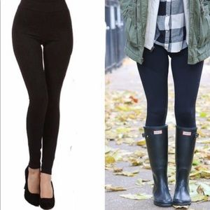 1 Pair Of Black Soft High Waist Fleece Leggings